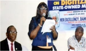 Permanent Secretary,Rivers State Ministry of Information and Communications, Mrs Cordelia Peterside (middle) making a speech during a three-day capacity building workshop for decoder installers organised by the Ministry in Port Harcourt, last Wednesday. With her are Permanent Secretary, Establishments, Mr Asoelu Gayamos Ogo (left) and Chairman, NUJ, Rivers State Council, Mr Opaka Dokubo