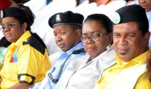 L-R: Commissioner, Child Rights Brigade (CRIB), Enugu State Command, Mrs Oluchi Promise, Representative of Enugu State Commissioner of Police, Mr Zakari Ya'u, Chairperson, Child Protection Network, Mrs Margaret Nwagbo and Crib National Head of Operations, Mr Archibong Anderson at the inauguration of Cribenugu State Command in Enugu, recently.
