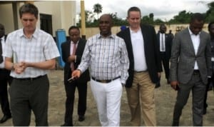 Rivers State Governor, Rt. Hon. Chibuike Rotimi Amaechi with technical partners on inspection of the Ebola Temporary Quarantine Site at Oduoha community in the Emohua Local Government Area of Rivers State, yesterday.