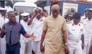 Minister of State for Defence, Amb.Musiliu Obanikoro (middle),with Naval officers, during his familiarisation visit to the Navy Town, Ojo, in Lagos last Tuesday