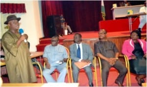 Commissioner 3, Civil Service Commission, Chief Godwin Bebe Okpabi (left), fielding questions from lawmakers over employment racket at the State College of Health Sciences, Sir Ngo Martyns-Yellowe, Registrar of the College, Owanate Lawson (right), Provost of College, Dr Charles Amadi (2nd right) during a the sitting of the House, recently.