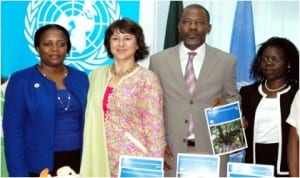 L-R: President, Strategy for Mentoring Indicative and Leadership Empowerment, Mrs Bimpe Martins, Senior Information Officer, UNIC, Ms Envera Selimovic, representative Of Lagos State Governor, Mr Seun Akinsaya and representative of UN Resident Coordinator in Nigeria, Ms Colleen Zamba, at the regional launch of the Millennium Development Goals Report 2014 in Lagos, recently.