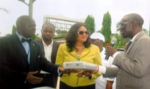 Manager, Occupational Health Mobil Producing Nigeria, Dr Ayodele Fagbemi (right) presenting some medical facilities  to Regional General Manager, FAAN, Mrs Ebele Okoye (middle).  With them are General Manager, Medical, FAAN, Lagos, Dr Oduwole Wale (left) during an offical hand-over ceremony of completed project at FAAN Medical Centre , Port Harcourt Int'l Aiport, Omagwa. Photo: Egberi A. Sampson