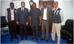 Country Representative/Director, World Health Organisation, Mr Rui Vaz (2nd left) and other WHO officials during a courtesy visit to the Rivers State Commissioner for Health, Dr Sampson Parker (middle) on their joint efforts to fight the spread of Ebola virus in Rivers State, yesterday in Port Harcourt