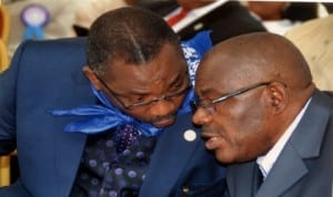 Rivers State Solicitor General/Permanent Secretary, Ministry of Justice, Evang Rufus Godwins (left) conferring with the State Head of Service,  Barr Samuel T. Long John, during the Civil Service Week celebration in Port Harcourt, recently. Photo: Chris Monyanaga