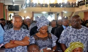 Rivers State Attorney-General and Commissioner for Justice, Nworgu Boms (left) with member, House of Assembly, Hon. Victoria Wobo Nyeche and State APC Secretary, Chief Emeka Gbege, during the funeral service of Late, Hon. Charles Paul Ejekwu at St. Thomas Anglican Church, Diobu Port Harcourt , recently.     Photo: Nwiueh Donatus Ken