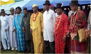 Rivers State Governor, Chibuike Amaechi (3rd right) with some chiefs of Rumuepirikom, during the round off of the governor's meet the people tour of Obio/Akpor Local Government Area, recently.