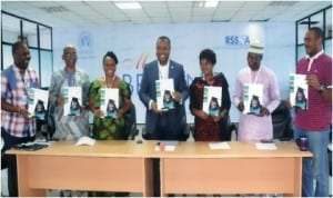 Executive Director, Rivers State Sustainable Development Agency (RSSDA), Noble Pepple (4th left) with executives of the agency, during the 2014 Annual Media Repot in Port Harcourt, recently