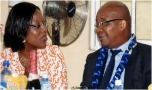 Sole Administrator, Greater Port Harcourt City Development Authority, Mrs Aleruchi Cookey-Gam (left) exchanging views with the Managing Director, Shell Petroleum Development Company, Mr Mutiu Sunmonu, during the 3rd graduation ceremony of Bloombreed High School in Port Harcourt, recently