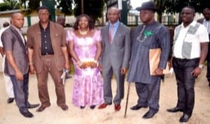Chairman Gokana Caretaker Committee of Rivers State, Mr. Sylvester Vidin (3rd right) and members of the committee, after their screening by members of the State  House of Assembly in Port Harcourt, recently. Photo: Chris Monyanaga