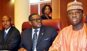 L-R: Minister of State for Health, Dr. Khaliru Alhassan, Minister of Health, Prof Onyebuchi Chukwu and Minister of State 2 for Foreign Affairs, Mr. Nurudeen Mohammed, briefing heads of foreign mission in Nigeria on Ebola Virus in Abuja, recently.