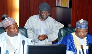 Minister of National Planning Commission, Mr Sulaiman Abubakar; Gov. Jonah Jang  of Plateau State and Vice President Namadi Sambo, at the National Economic Council Meeting in Abuja, recently.  Photo: NAN