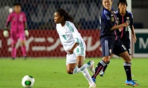 A Super Falcon getting beyond an opponent in a previous FiFA Women's World Cup game.
