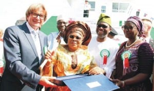 L-R: Vice Chairman, Navimor Group, Mr Roman Kinda; First Lady, Dame Patience Jonathan; Minister of Agriculture, Dr Akinwumi Adesina and Minister of State for Agriculture, Mrs Asabe Hamed , at the inauguration and Christening of Federal Ministry of Agriculture newly acquired fishing vessel in Poland, recently.       Photo: NAN