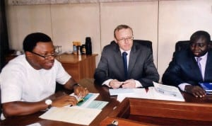 L-R: Commissioner for Budget and Economic Planning, Rivers State, Hon. Gogo Charles Levi, World Bank taskforce team leader, SEEFOR, Jens Kristensen, and coordinator, SEEFOR Tunde Lawal, during a meeting with the Commissioner , recently. Photo: Prince Obinna Dele