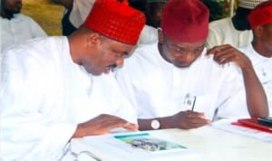 Leader APC Kano State, Dr Danjuma Mohammed (right) listening to the Special Adviser on International Community Relations to Kano Government, Hon. Christopher Chidi Anyaso (left) during the visit of APC Kano State Chapter to Rivers State APC Chapter, recently. Photo: Chris Monyanaga