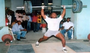 A Rivers weightlifter showing off his skills at a recent meet. Photo: Chris Monyanaga