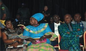 L-R: Rivers State Governor, Rt Hon Chibuike Amaechi, Commissioner for Information and Communications,Mrs Ibim Semenitari and a guest at the Native and Vogue Port Harcourt  International Fashion Week in Port Harcourt, recently.