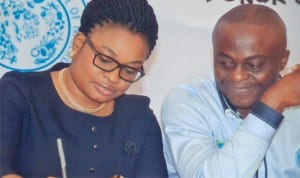 Director of Publication, Rivers State Ministry of Information and Communications, Mr Paulinus Nsirim (right), with Chief Operating Officer, Neomantra Limited, at a press conference for the 2nd Port Harcourt International Fashion Week, at Voitel Hotel, Port Harcourt recently.  Photo: Chris Monyanaga