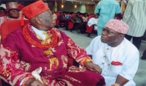 Gbenemene of Tai Kingdom, President Supreme Council of Ogoni Traditional Rulers and Chairman Rivers State Council of Traditional Ruters, King Godwin N.K. Gininwa (left), with his Chief of Staff and Gbenemene Mene, Samuel Nnee (right) during the thanksgiving service to  mark the 75 years Birthday of King Giniwa in Port Harcourt, recently.