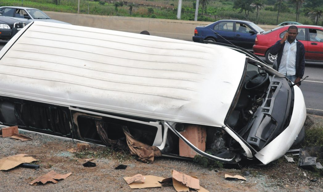 An accident scene at Airport Road in  Abuja recently