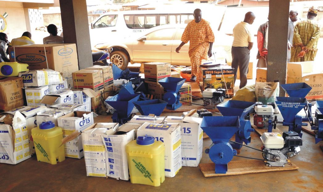 Farm tools and equipment donated to various FADAMA user groups in Iseyin Local Government Area of Oyo State recently.