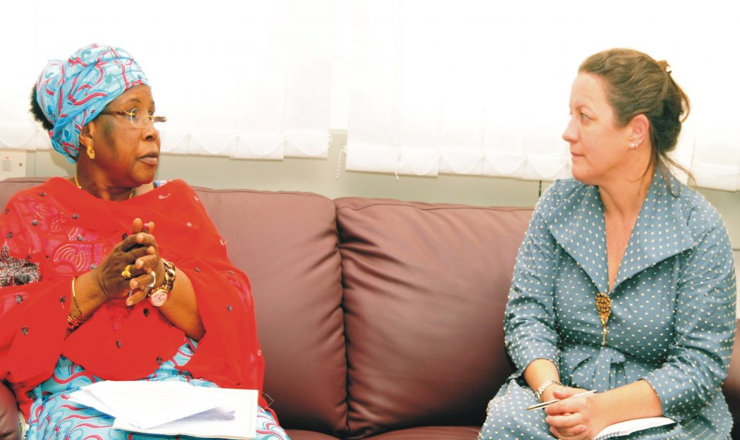 Minister of Women Affairs and Social Development, Hajiya Zainab Maina (left) with the Deputy Head of Chancery, British High Commission, Josephine Guide, during the visit of Josephine   to the ministry in Abuja, recently. Photo: NAN