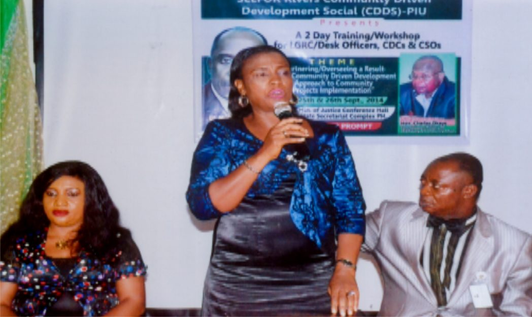 DFA chieftaincy and Community Affair, Rivers State, Mrs. Taba A. B. Epelle, Rep. Commissioner for Chieftaincy and Community Affairs (middle) making a speech during a two-day training and workshop for LGRC/DESK officers organised by Rivers State Minister of Chieftaincy and Community Affairs in collabration with SEEFOR, Rivers State Community Driven Development Social (CDDS) pin at Ministry of Justice, Port Harcourt, recently. Photo: Egberi A. Sampson