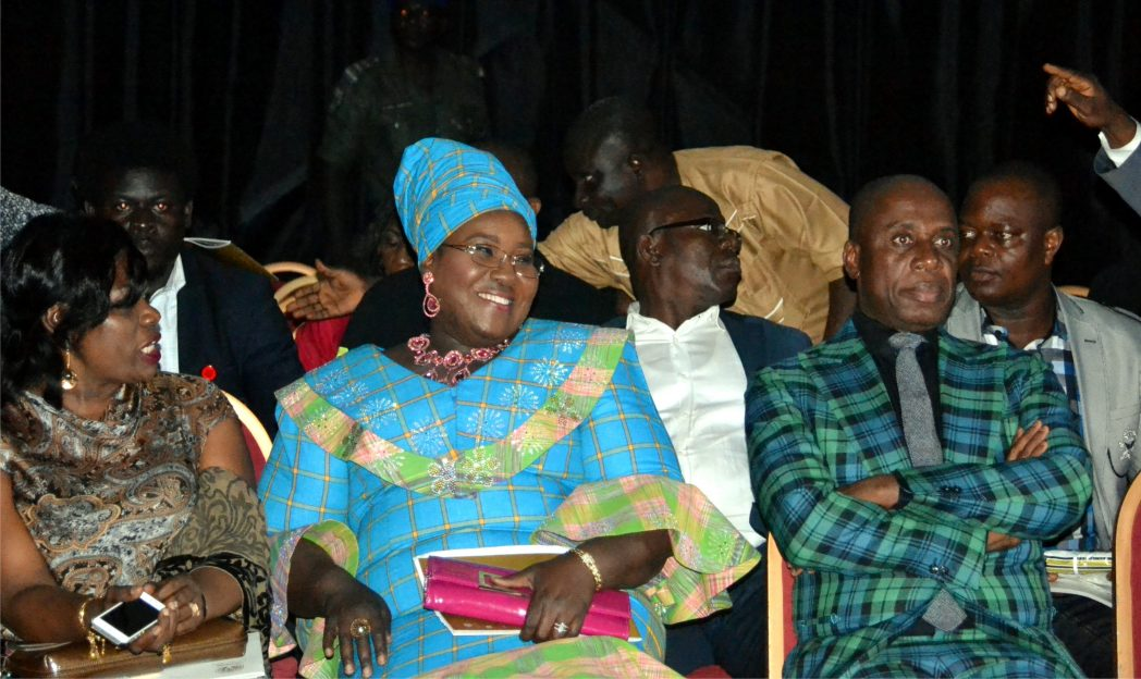 Rivers State Governor, Rt Hon Chibuike Amaechi (right), Commissioner for Information and Communications, Mrs Ibim Semenitari (middle) and Commissioner for Women Affairs, Mrs Joaba West at the Native and Vogue Port Harcourt International Fashion Week in Port Harcourt, recently