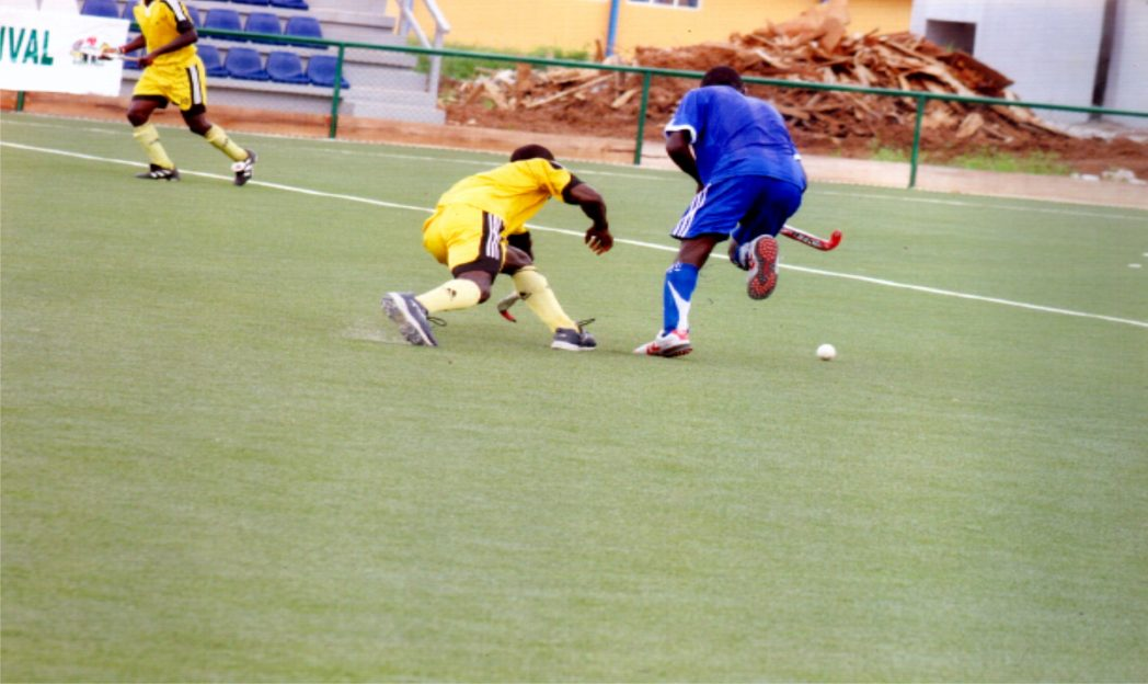 Hockey players in action  during a recent national meet