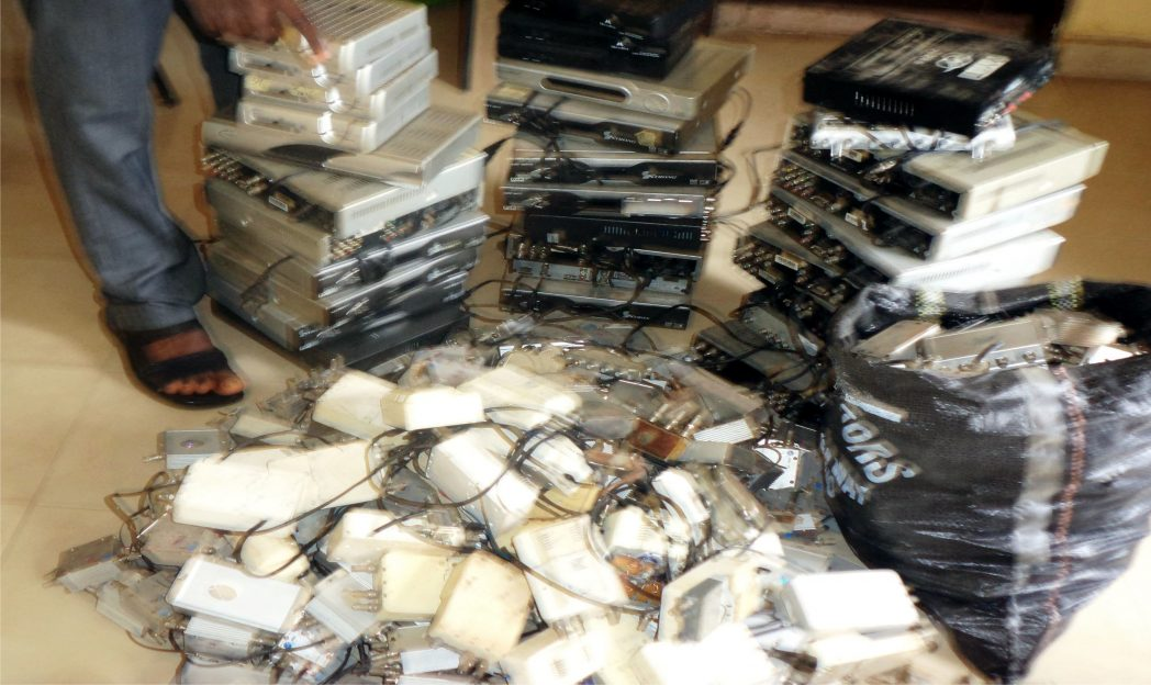 Some equipment used for illegal broadcasting within Onitsha and Awka recently seized by the Nigeria Copyright Commission (NCC) last Tuesday.