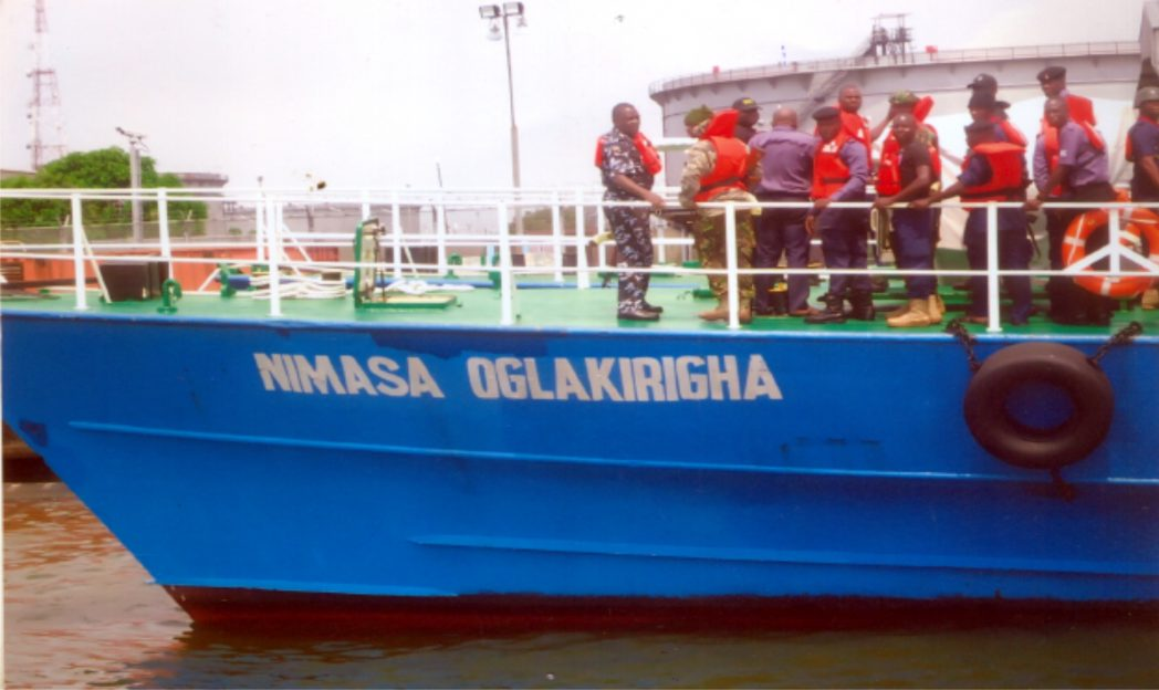 One of the gunboats acquired by MIMASA to curb Sea Piracy along Bonny River, recently