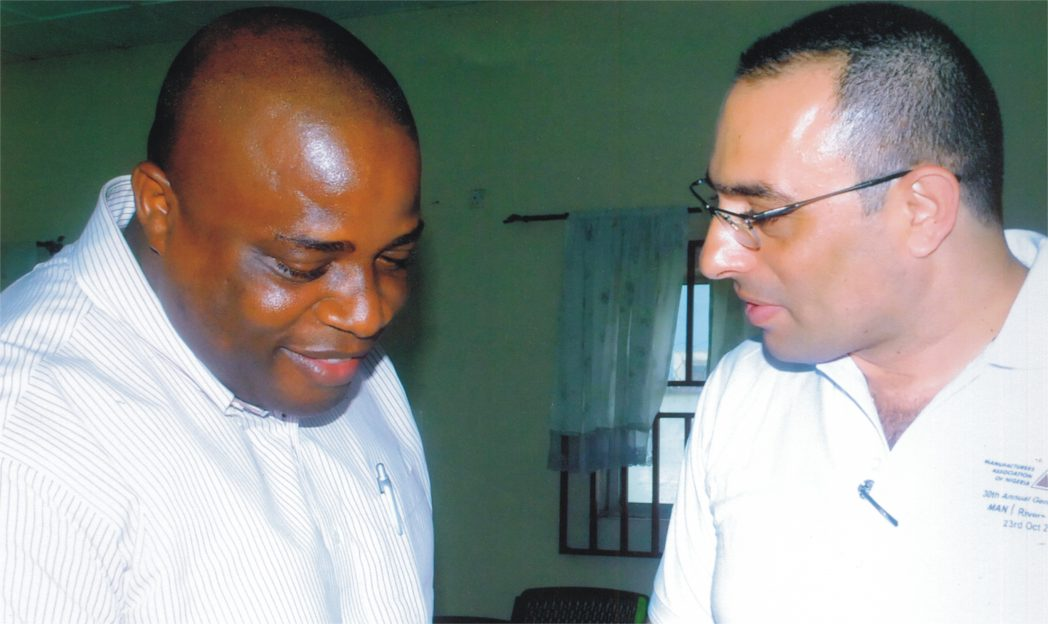 Treasurer, Manufacturers Association of Nigeria, Rivers/Bayelsa States branch, Engr. Jubril Balogun (left), with Chief Nabil Saleh, during a press briefing on the 30th Annual General Meeting of MAN in Port Harcourt last Tuesday. Photo: Egberi A. Sampson