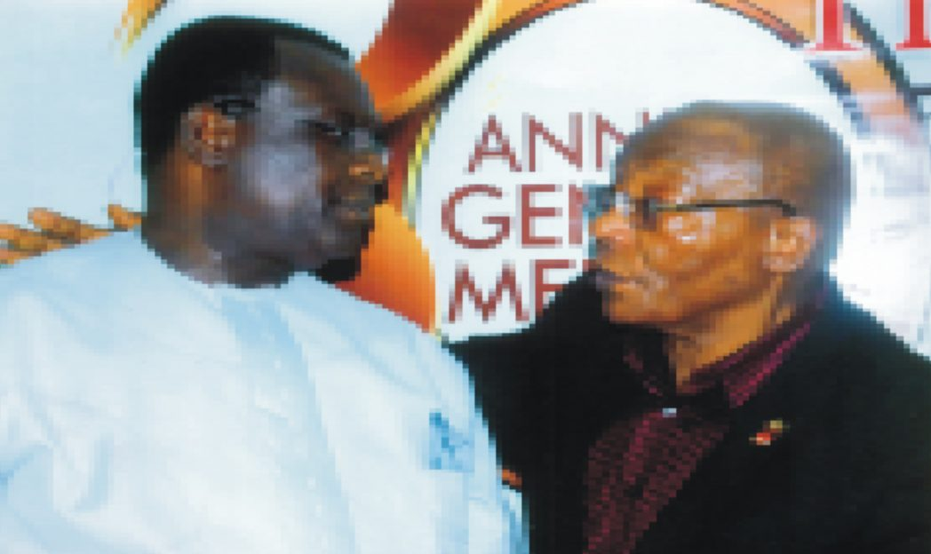 First Vice Chairman, Manufacturers Association of Nigeria, Rivers/Bayelsa States branch, Hon. Charles Beke (left), exchanging pleasantries with a member of MAN, Engr. J. O. Ladapo, during a press briefing on the 30th General Meeting of MAN in Port Harcourt last Tuesday. Photo: Egberi A. Sampson