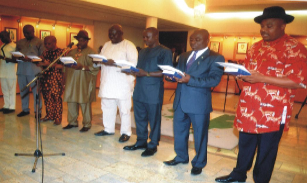 Cross section of Chairmen Caretaker Committees taking their oath of office at the swearing-in at Government House, Port Harcourt recently. Photo: Chris Monyanaga