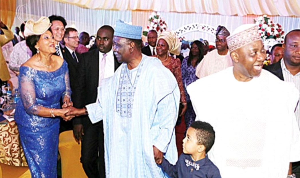Publisher of The Guardian, Maiden Alex-Ibru (left); welcoming former Head of State, General Yakubu Gowon, and the Vice President Arc. Namadi Sambo (right)  to  a special dinner in honour of Gen Gowon on his 80th  birthday in Abuja, last Friday