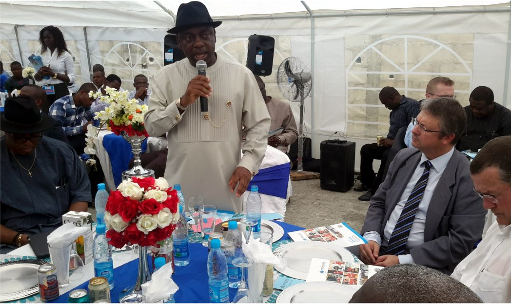 Executive Secretary, NCDMB, Ernest Nwakpa, addressing guests at the official inaugurationof Benkline rotating equipment maintenance workshop in Port Harcourt, recently.