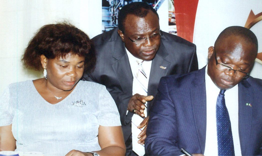 L-R: Permanent Secretary, Ministry of Commerce and Industry, Rivers State, Ms Kadilo Brown representing Governor of Rivers State, Chairman, MAN Rivers/Bayelsa State, Hon. Charles Beke, Senior Special Assistant to Bayelsa State Governor on SME Development, Hon. Ebirkure Eradiri during the 30th Annual General Meeting of MAN Rivers /Bayelsa States at Atrium along Stadium Road Port Harcourt, recently.