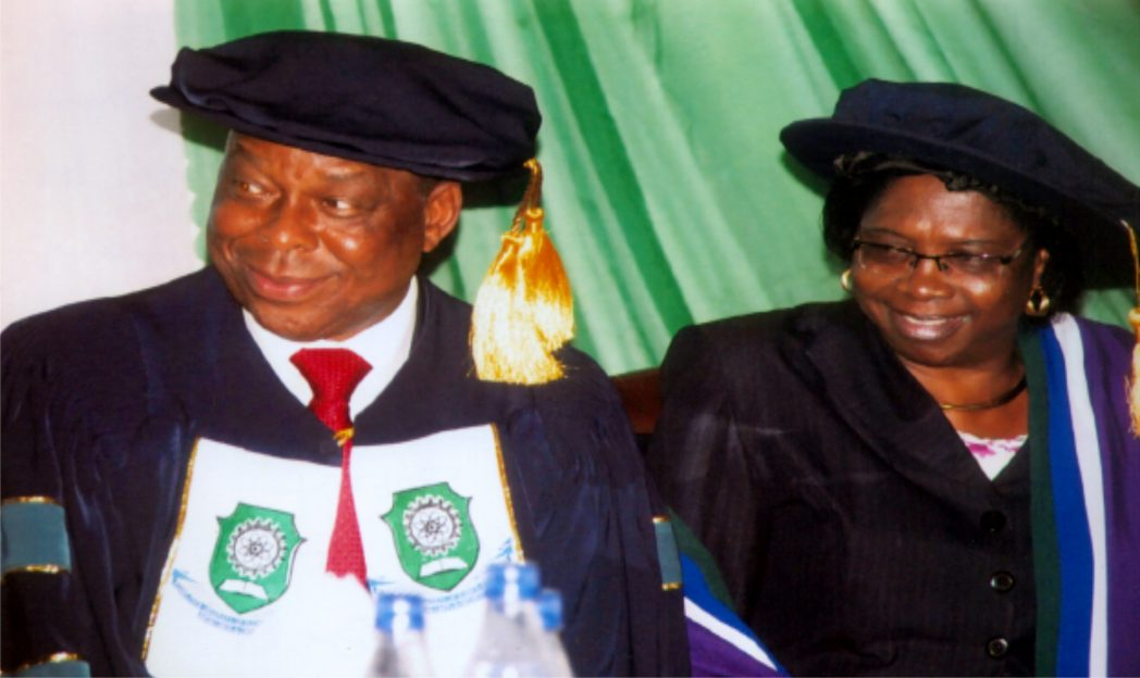 Vice Chansellor of RSUST, Port Harcourt, Prof. Barineme Fakae (left) and the institution's Librarian, Dame (Dr.) Blessing Ahiauzu during group inaugural lecture organised by the institution at Amphi -Threatre recently. Photo: Obinna Prince Dele