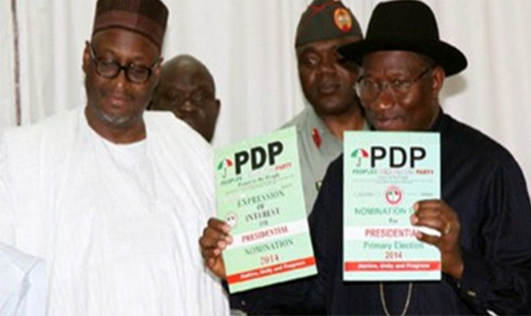 National Chairman of PDP, Alhaji Adamu Mu'Azu with President Goodluck Jonathan as he picks Expression of Interest to contest the 2015 Presidential election next year at the Party headquarters in Abuja