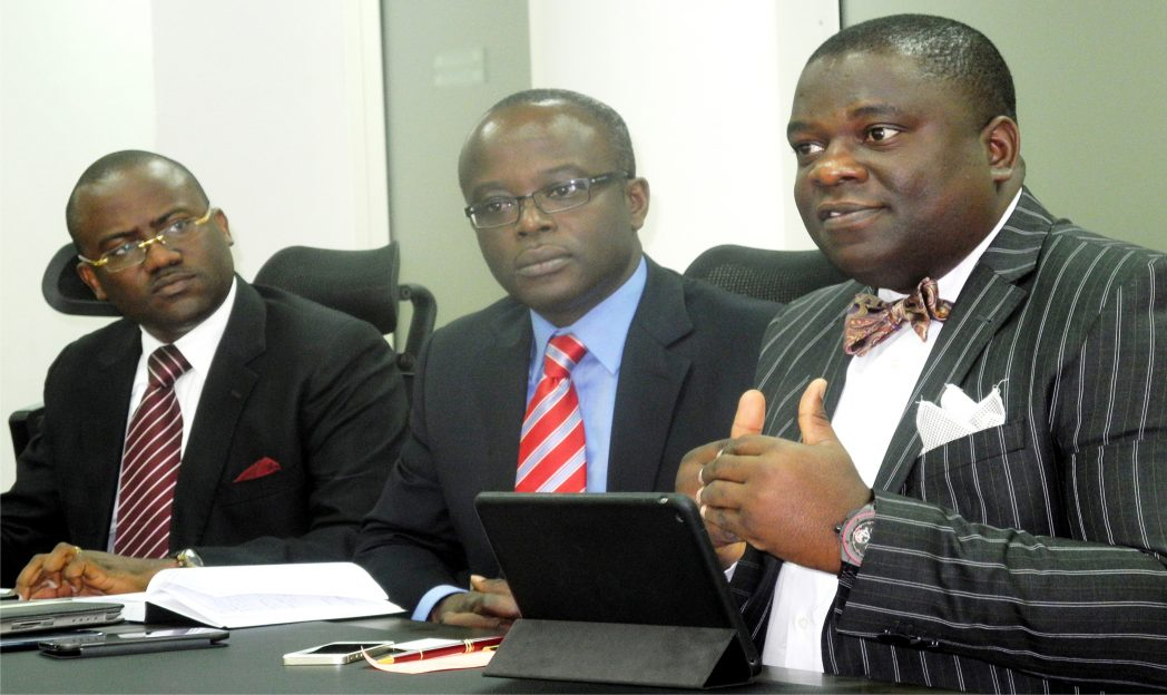 L-R: Partner, Management Consulting, KPMG, Mr Segun Sowande; Partner and Head of Audit Service, Mr Tola Adeyemi and Partner, Tax regulation and People Services, Mr Ajibola Olomola, at a news conference on KPMG Chief Financial Officers (CFOs) Survey report launch in Lagos, recently