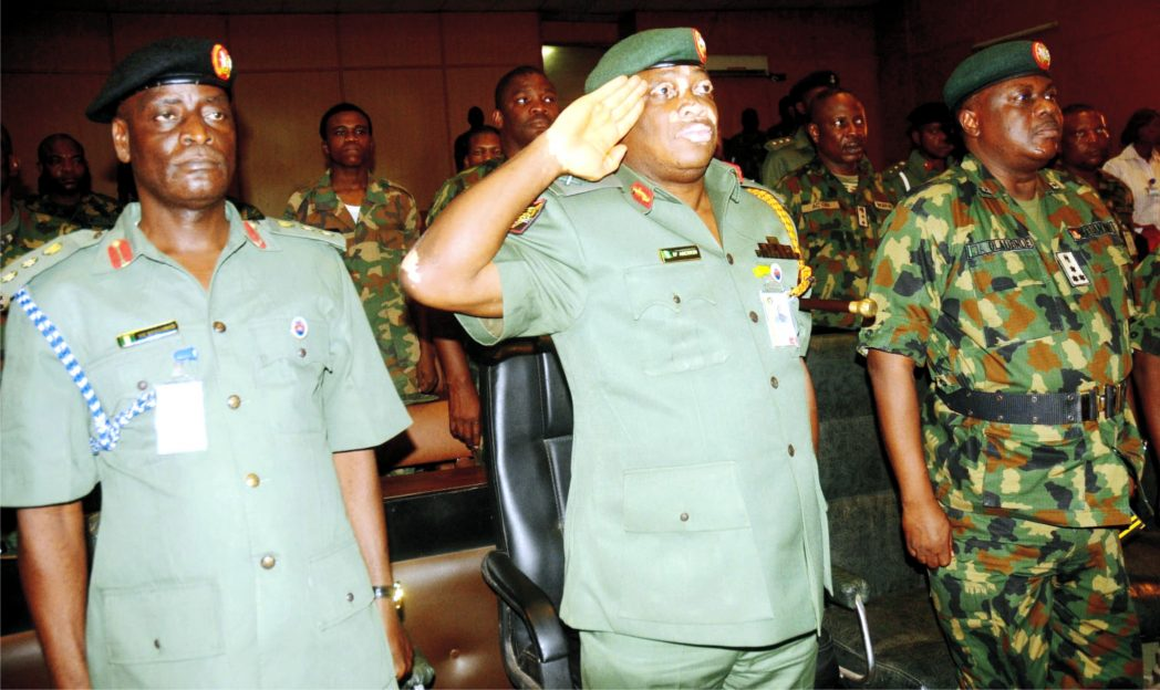 L-R: Assistant Director, Legal Services, 2 Div., Col. Musa Muhammed, G. O. C. 2 Div., Maj.-Gen. Emmanuel Abejirin and Chief of Staff to the G. O. C., Brig.-Gen. Johnson Oladeinde, at the inauguration of General Court Martial in Ibadan recently.