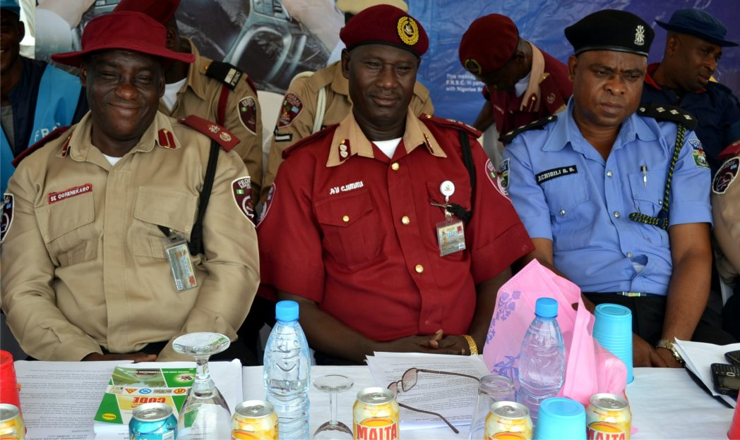L-R: Rivers State Sector Commander, Federal Road Safety Commission, Sunday E Ogheakaro, Asst Corps Marshal, Aliyu Gumni and Commander, State Traffic of Police, Achigili, during a campaign rally organised by FRSC, on Don't Drink and Driver in Mile 3, Port Harcourt, yesterday