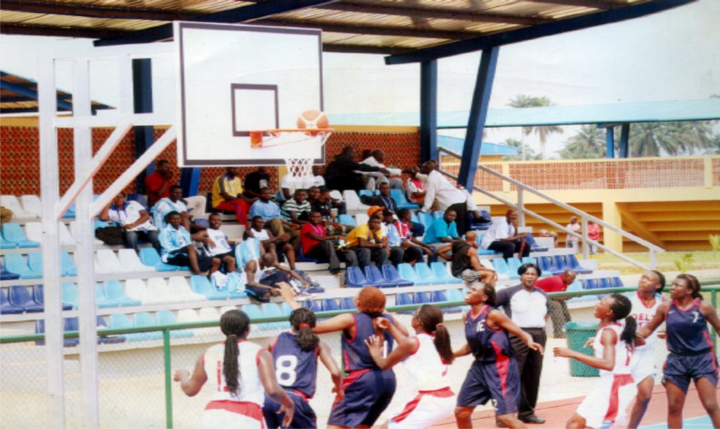 Basket  ball players struggling for honour during a sports event in Port Harcourt, Rivers State, recently