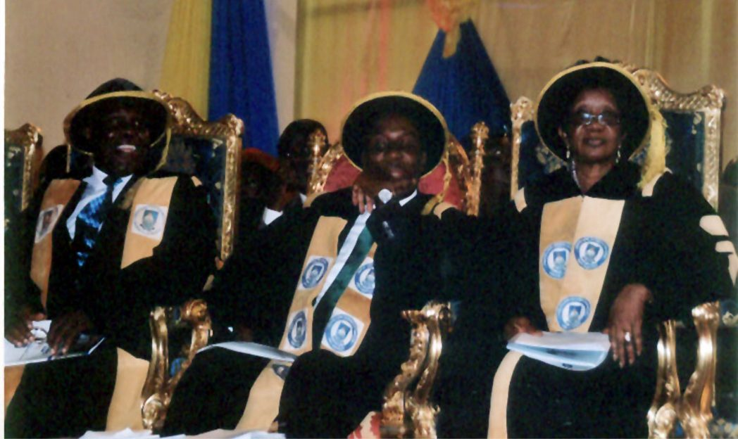 R-L: Vice Chancellor, Ignatius Ajuru University of Education, Rumuolumeni, Prof Rosemund Dienye Green-Osahogulu, Rivers State Governor and Visitor to the university, Rt Hon Chibuike Amaechi and the Pro-Chancellor and Chairman, Governing Council of the university, King Aaron Ikuru, at the convocation ceremony of the university, recently