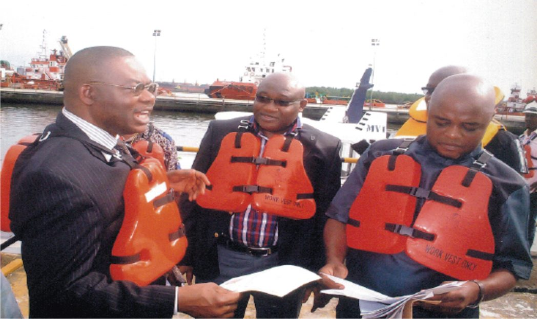 L-R: General Manager, Sustainable Development,  SPDC,  Mr. Nero Osayande, Govts and Communities Relations Manager,  Bayelsa and Delta,  Mr. Evans Krukrubo, with Chairman Agbidiama CT. Hon. Emmanuel Fungewei during the commissioning of  Agbidiama Landing Craft and SPDC. Marine Base, Kidney Island Port Harcourt, recently. Photo: Egberi .A. Sampson