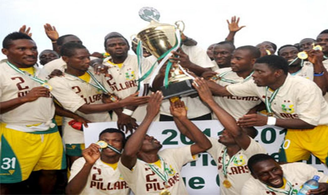 Kano Pillers rejoicing with their league trophy