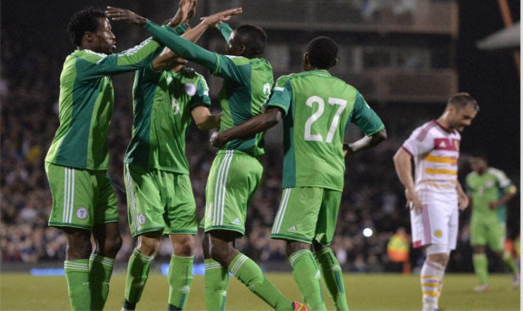 Super Eagles players celebrating a goal in one  of their outings