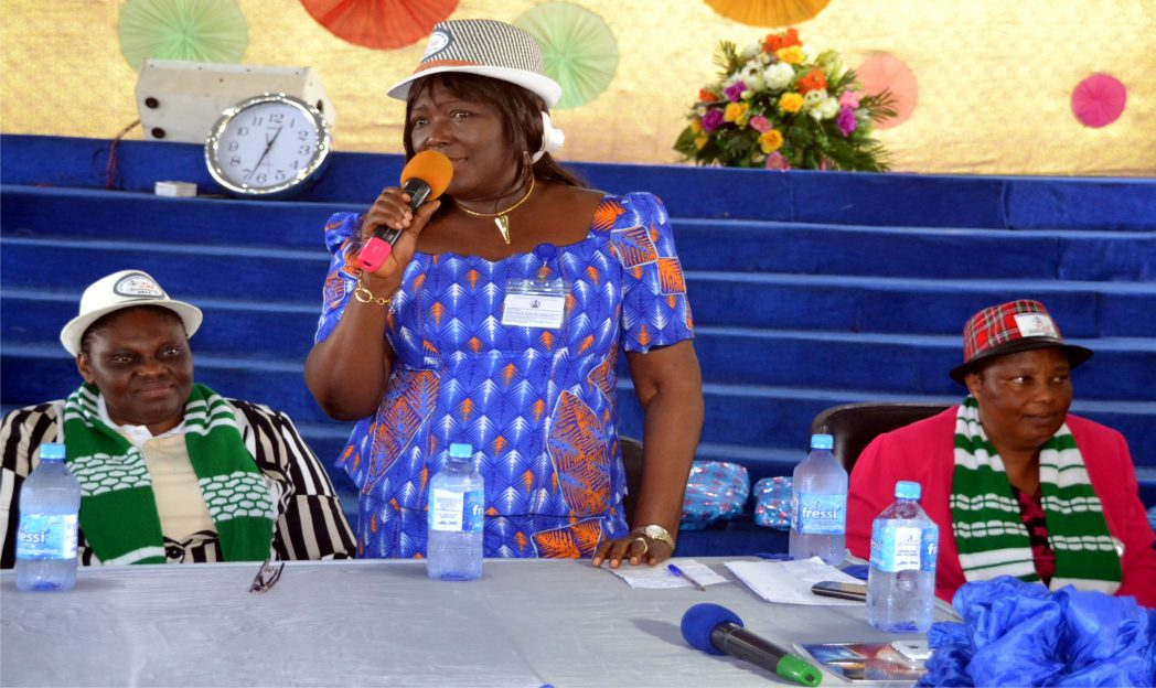 Perm Sect  Min of Intormation and Communication, Mrs Cordilia Peterside addressing participants during 2014 Skills Acquisition organised by Divine Daughters of Destiny of Redemption Ministries PHC.  With her is  Pastor (Mrs) M. Akinola (left) any Pastor (Mrs) Briggs, recently. Photo: Nwiueh Donatus Ken