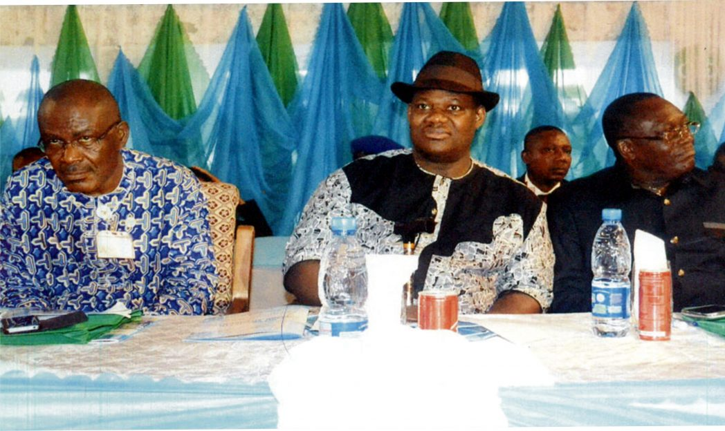Rivers State Deputy Governor, Engr Tele Ikuru (middle), Rivers State Head of Civil Service, Barr. S. T. LongJohn and Chairman, Civil Service Commission, Sir Ngo Martyns Yellowe (left) at the 2014 Civil Service Week, in Port Harcourt, recently. Photo: Obinna Prince Dele